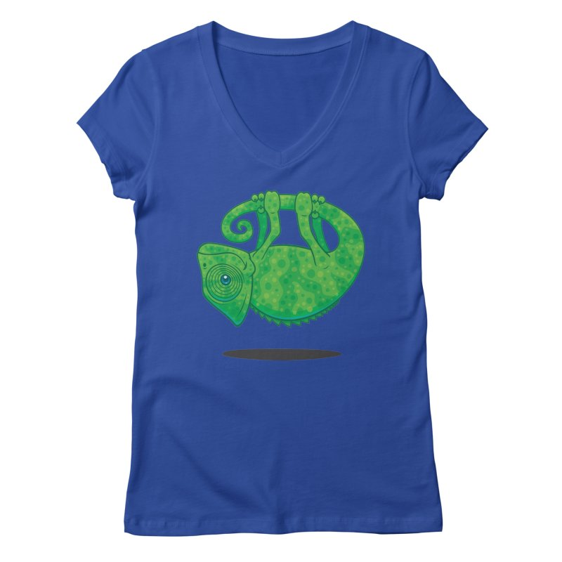Magical Chameleon Women's V-Neck by Fizzgig's Artist Shop