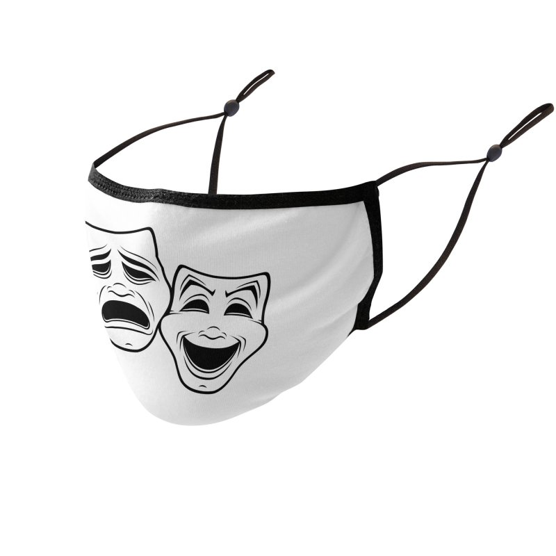 Comedy And Tragedy Theater Masks Black Line Accessories Face Mask by Fizzgig's Artist Shop