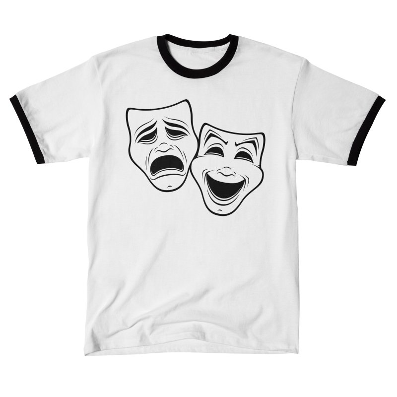 Comedy And Tragedy Theater Masks Black Line Men's T-Shirt by Fizzgig's Artist Shop