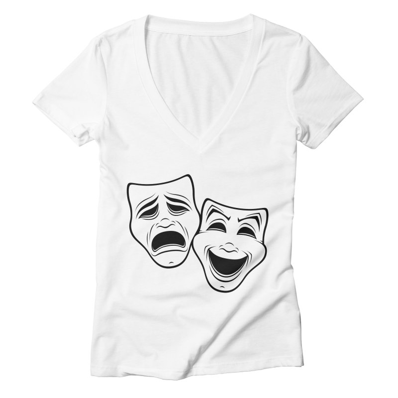 Comedy And Tragedy Theater Masks Black Line Women's V-Neck by Fizzgig's Artist Shop