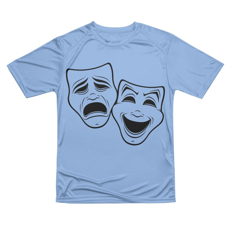 Comedy And Tragedy Theater Masks Black Line Women's T-Shirt by Fizzgig's Artist Shop