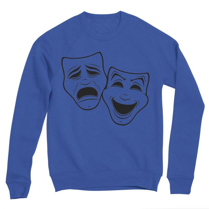 Comedy And Tragedy Theater Masks Black Line Men's Sweatshirt by Fizzgig's Artist Shop