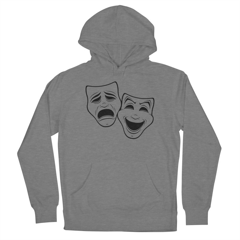 Comedy And Tragedy Theater Masks Black Line Women's Pullover Hoody by Fizzgig's Artist Shop