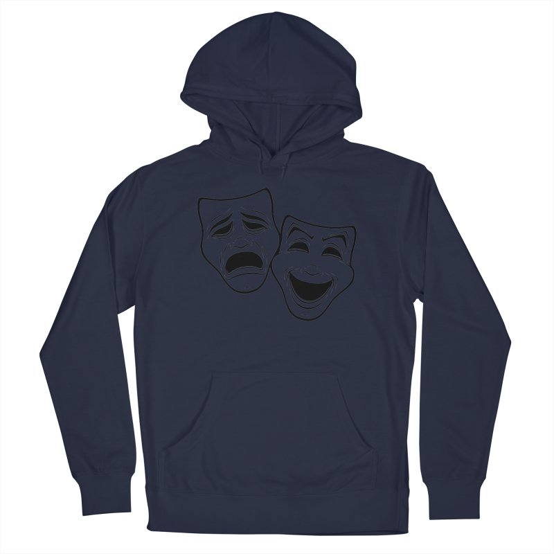 Comedy And Tragedy Theater Masks Black Line Men's Pullover Hoody by Fizzgig's Artist Shop