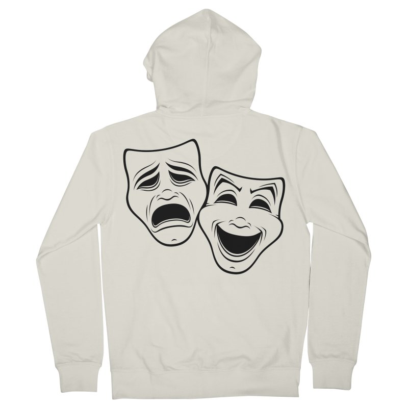 Comedy And Tragedy Theater Masks Black Line Women's Zip-Up Hoody by Fizzgig's Artist Shop
