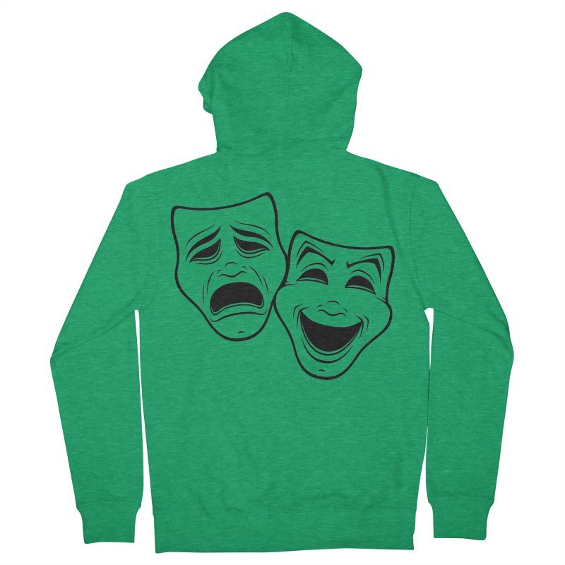 Comedy And Tragedy Theater Masks Black Line Men's Zip-Up Hoody by Fizzgig's Artist Shop