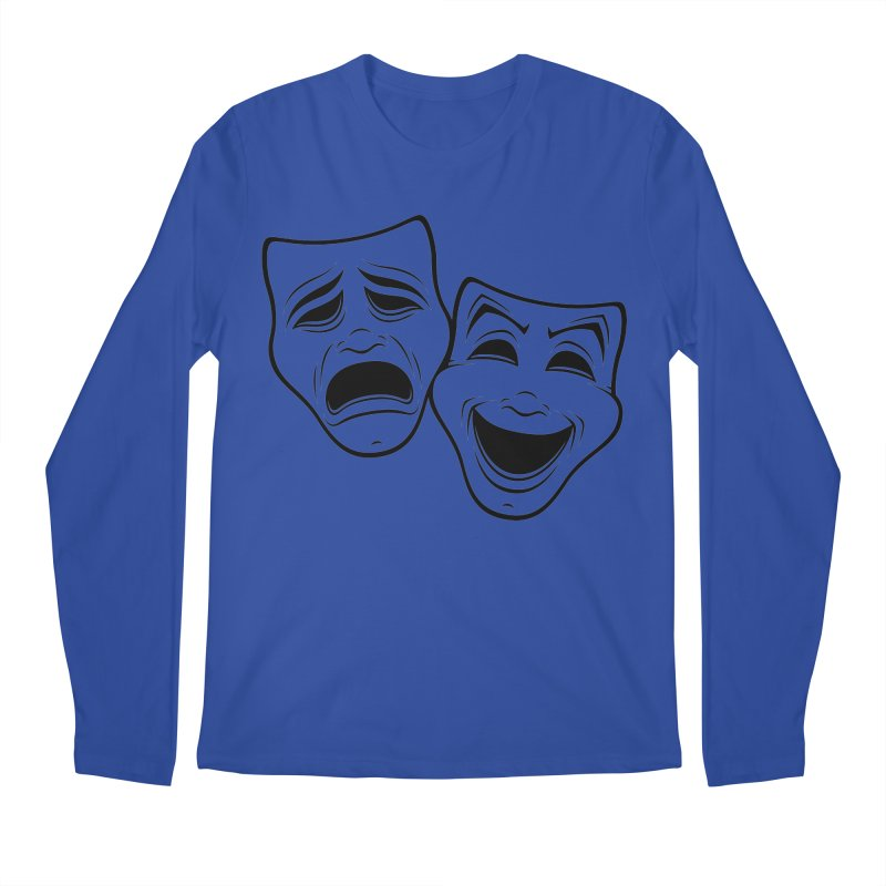 Comedy And Tragedy Theater Masks Black Line Men's Longsleeve T-Shirt by Fizzgig's Artist Shop