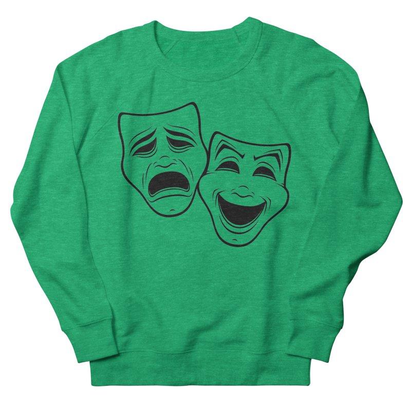 Comedy And Tragedy Theater Masks Black Line Women's Sweatshirt by Fizzgig's Artist Shop