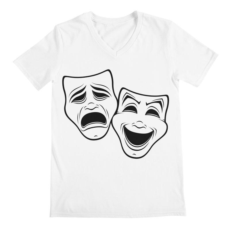 Comedy And Tragedy Theater Masks Black Line Men's V-Neck by Fizzgig's Artist Shop
