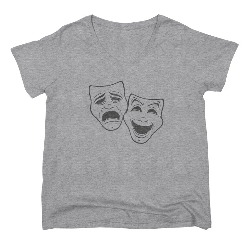 Comedy And Tragedy Theater Masks Black Line Women's Scoop Neck by Fizzgig's Artist Shop