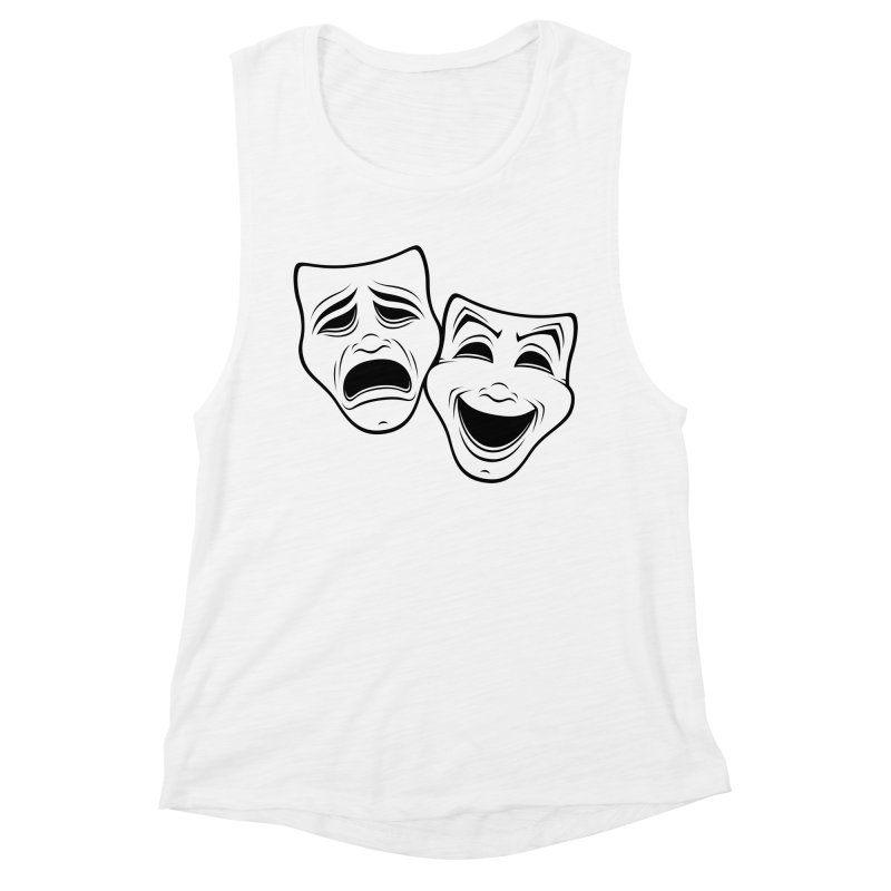 Comedy And Tragedy Theater Masks Black Line Women's Tank by Fizzgig's Artist Shop