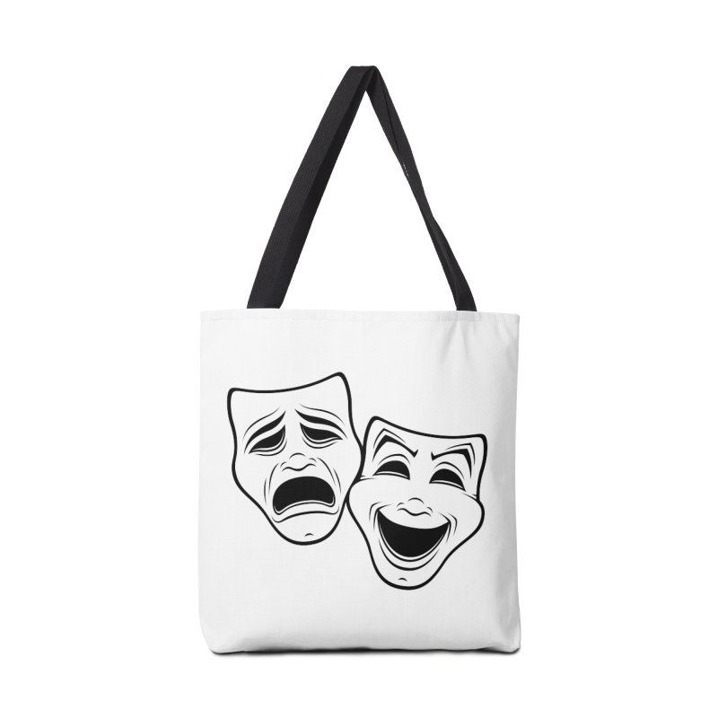 Comedy And Tragedy Theater Masks Black Line Accessories Bag by Fizzgig's Artist Shop