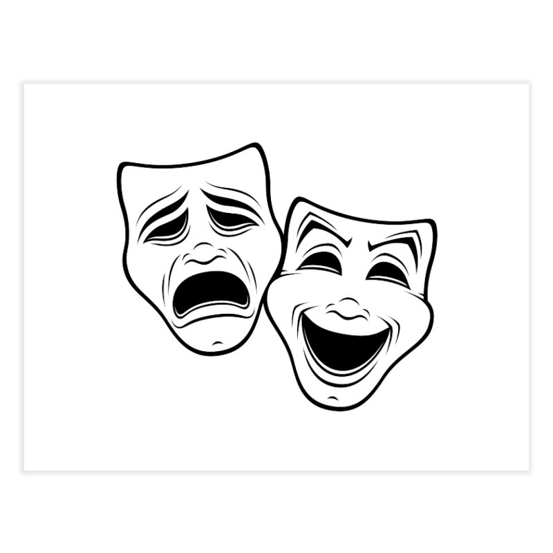 Comedy And Tragedy Theater Masks Black Line Home Fine Art Print by Fizzgig's Artist Shop