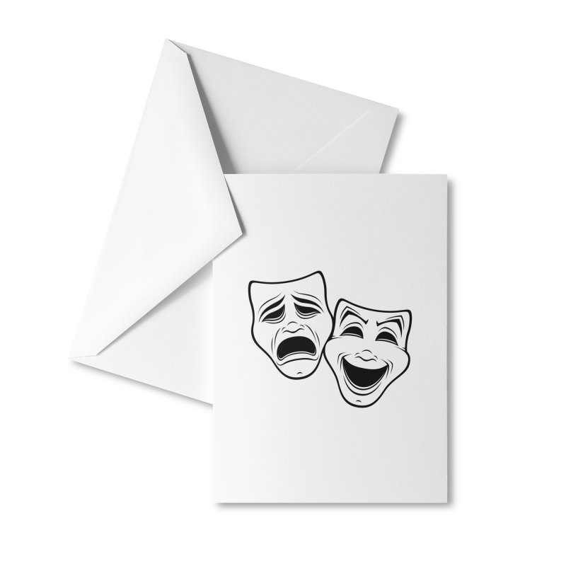 Comedy And Tragedy Theater Masks Black Line Accessories Greeting Card by Fizzgig's Artist Shop