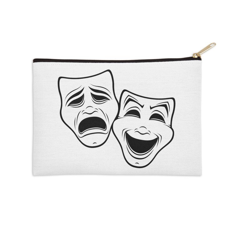 Comedy And Tragedy Theater Masks Black Line Accessories Zip Pouch by Fizzgig's Artist Shop