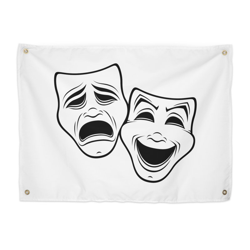 Comedy And Tragedy Theater Masks Black Line Home Tapestry by Fizzgig's Artist Shop