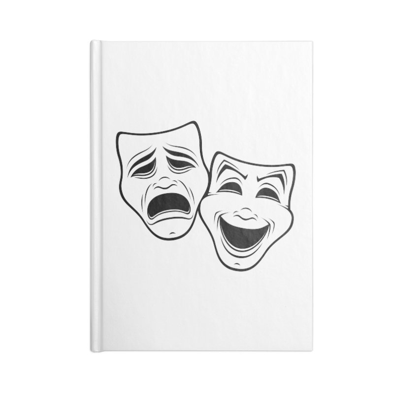 Comedy And Tragedy Theater Masks Black Line Accessories Notebook by Fizzgig's Artist Shop