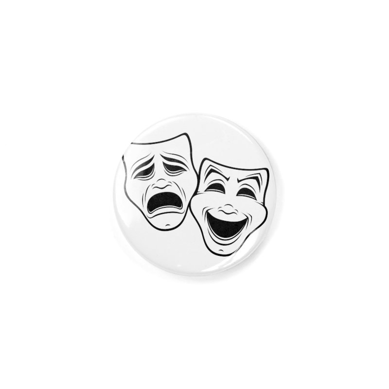 Comedy And Tragedy Theater Masks Black Line Accessories Button by Fizzgig's Artist Shop
