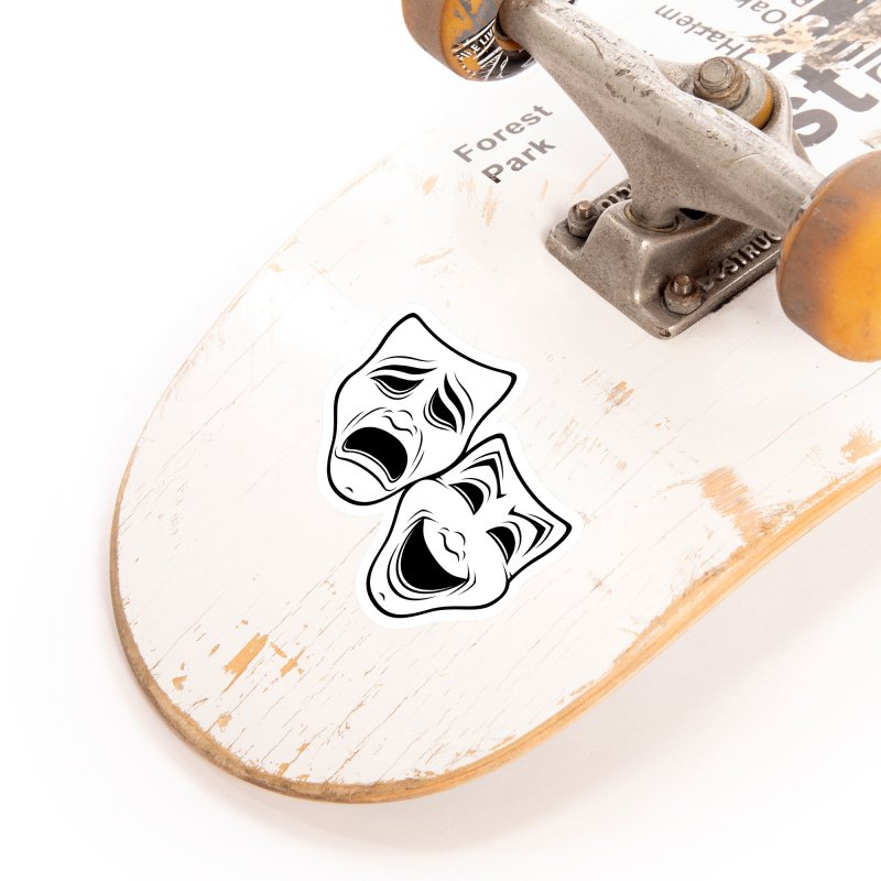 Comedy And Tragedy Theater Masks Black Line Accessories Sticker by Fizzgig's Artist Shop