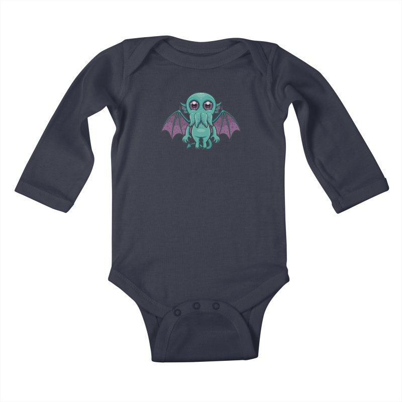 Cute Baby Cthulhu Monster Kids Baby Longsleeve Bodysuit by Fizzgig's Artist Shop