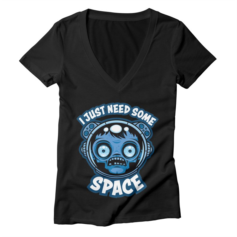 Zombie Astronaut Needs Some Space Women's V-Neck by Fizzgig's Artist Shop