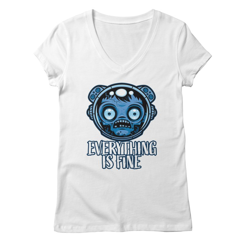 Zombie Astronaut Is Fine Women's V-Neck by Fizzgig's Artist Shop
