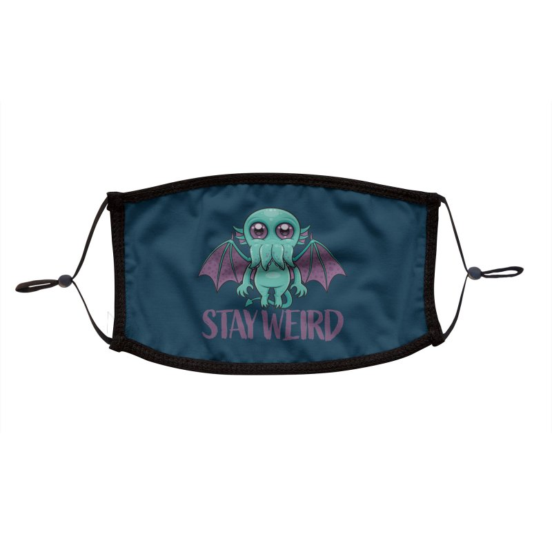 Stay Weird Cute Cthulhu Monster Accessories Face Mask by Fizzgig's Artist Shop