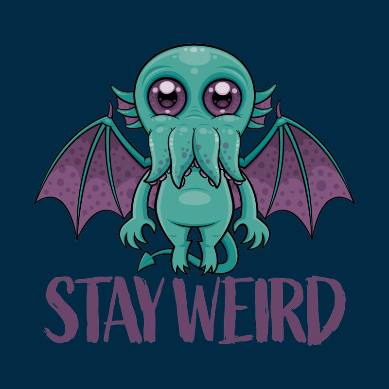 Stay Weird Cute Cthulhu Monster Men's T-Shirt by Fizzgig's Artist Shop