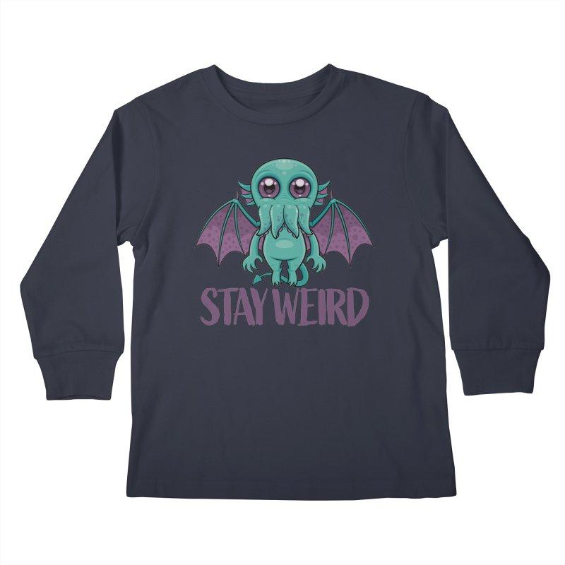 Stay Weird Cute Cthulhu Monster Kids Longsleeve T-Shirt by Fizzgig's Artist Shop