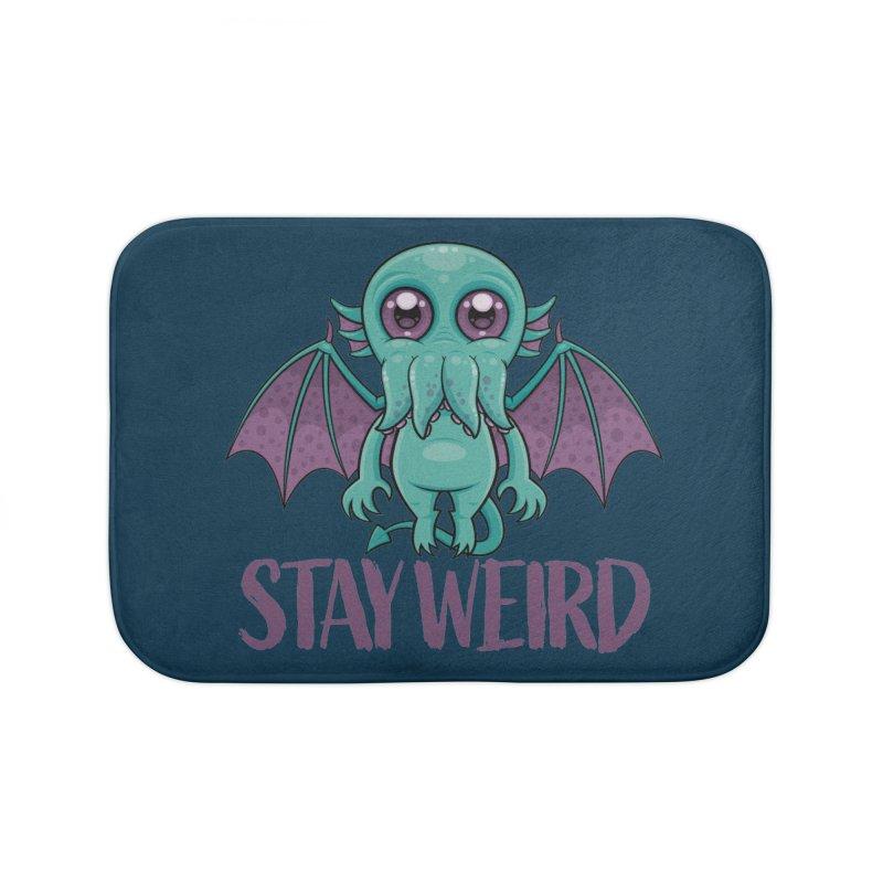 Stay Weird Cute Cthulhu Monster Home Bath Mat by Fizzgig's Artist Shop