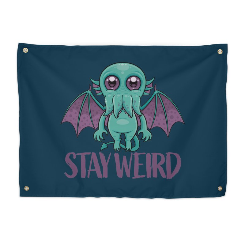 Stay Weird Cute Cthulhu Monster Home Tapestry by Fizzgig's Artist Shop
