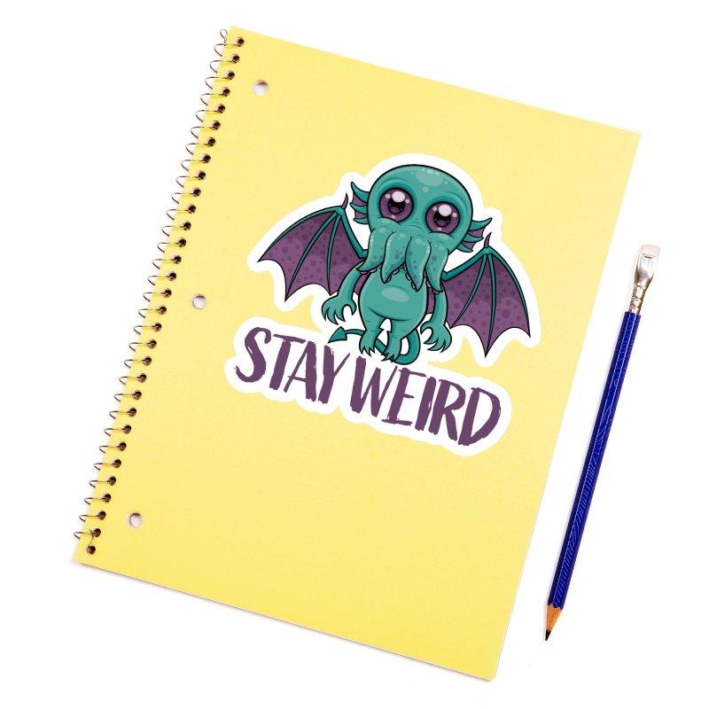 Stay Weird Cute Cthulhu Monster Accessories Sticker by Fizzgig's Artist Shop