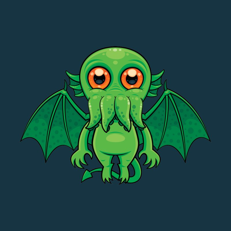 Cute Green Cthulhu Monster Accessories Zip Pouch by Fizzgig's Artist Shop