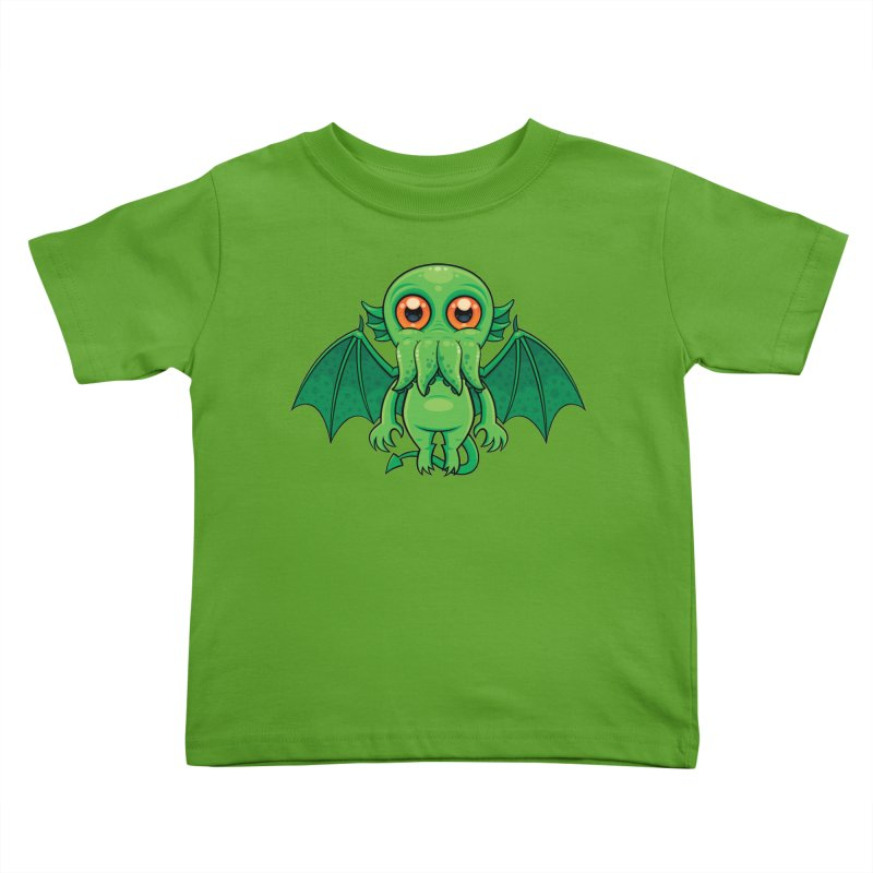 Cute Green Cthulhu Monster Kids Toddler T-Shirt by Fizzgig's Artist Shop