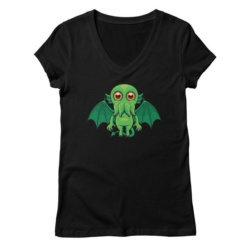 Cute Green Cthulhu Monster Women's V-Neck by Fizzgig's Artist Shop