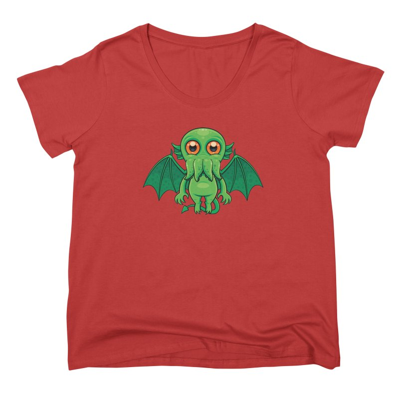 Cute Green Cthulhu Monster Women's Scoop Neck by Fizzgig's Artist Shop