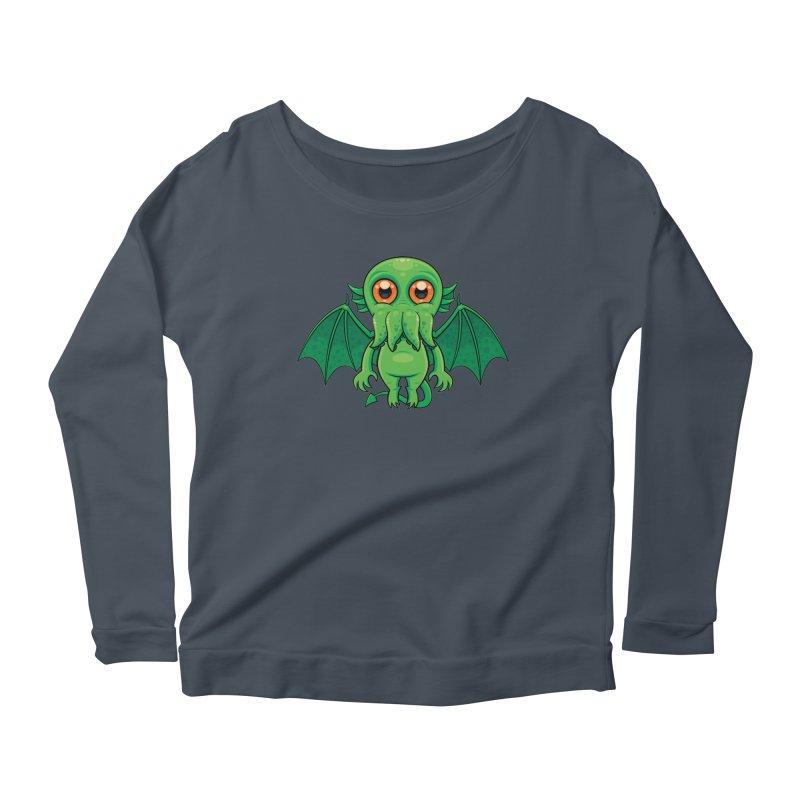 Cute Green Cthulhu Monster Women's Longsleeve T-Shirt by Fizzgig's Artist Shop
