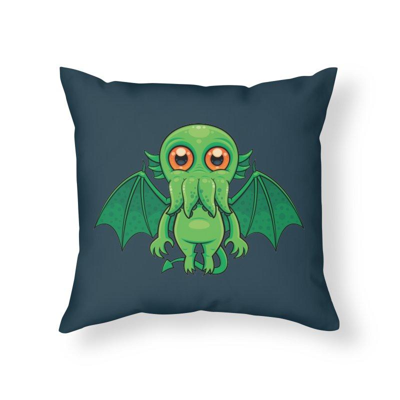 Cute Green Cthulhu Monster Home Throw Pillow by Fizzgig's Artist Shop