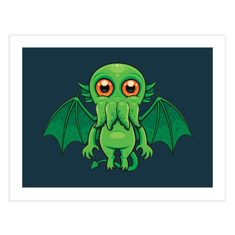 Cute Green Cthulhu Monster Home Fine Art Print by Fizzgig's Artist Shop