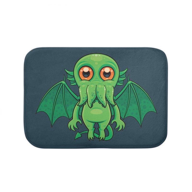 Cute Green Cthulhu Monster Home Bath Mat by Fizzgig's Artist Shop