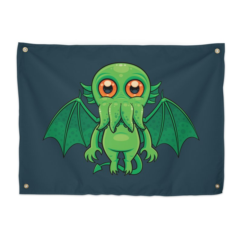 Cute Green Cthulhu Monster Home Tapestry by Fizzgig's Artist Shop