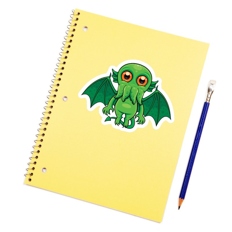 Cute Green Cthulhu Monster Accessories Sticker by Fizzgig's Artist Shop