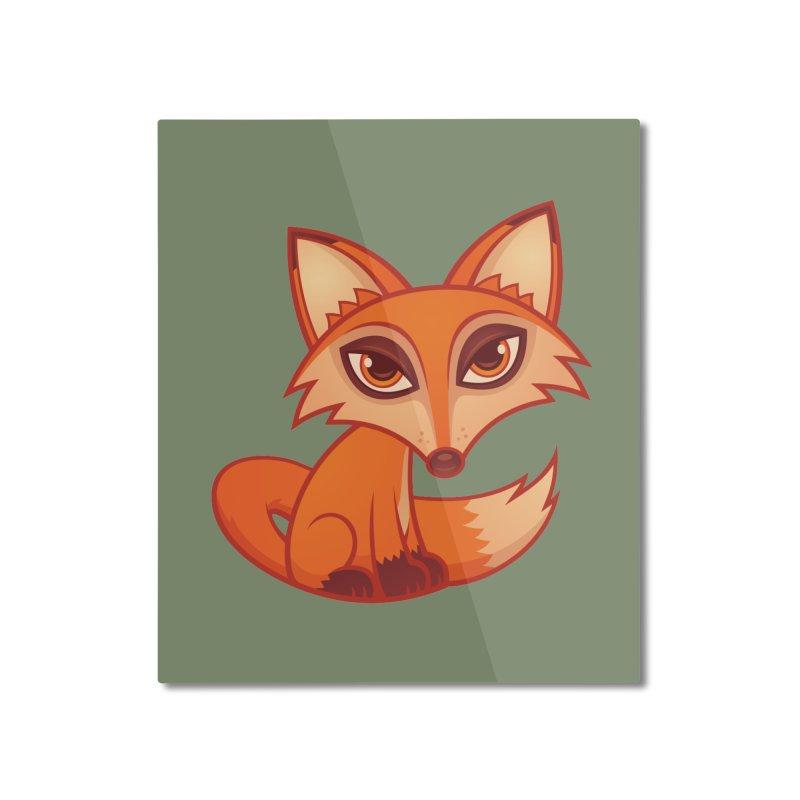 Cartoon Red Fox Home Mounted Aluminum Print by Fizzgig's Artist Shop