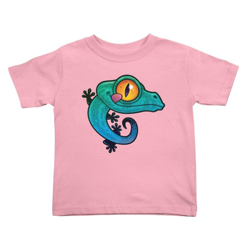 Cute Gecko Lizard Licking His Eye Kids Toddler T-Shirt by Fizzgig's Artist Shop