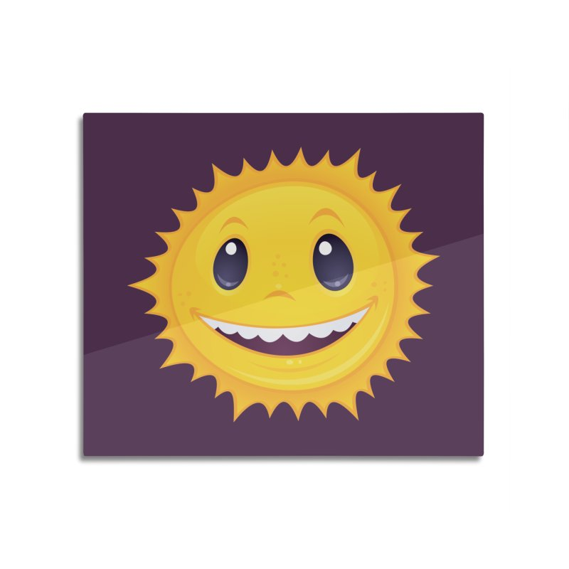 Smiley Sun Home Mounted Aluminum Print by Fizzgig's Artist Shop