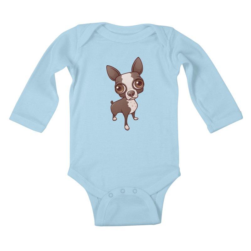 Zippy the Boston Terrier Kids Baby Longsleeve Bodysuit by Fizzgig's Artist Shop