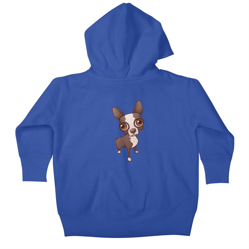Zippy the Boston Terrier Kids Baby Zip-Up Hoody by Fizzgig's Artist Shop