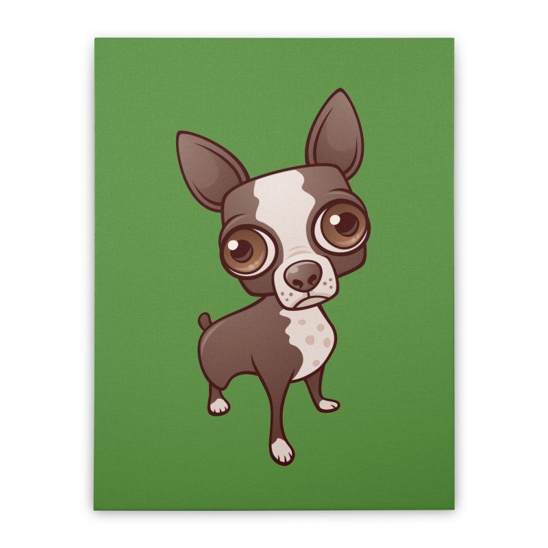 Zippy the Boston Terrier Home Stretched Canvas by Fizzgig's Artist Shop