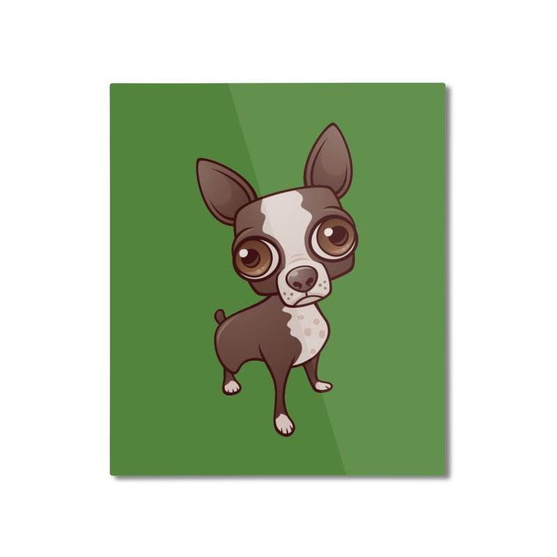 Zippy the Boston Terrier Home Mounted Aluminum Print by Fizzgig's Artist Shop