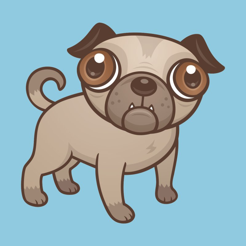 Pug Puppy Cartoon by Fizzgig's Artist Shop
